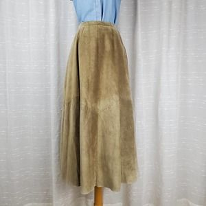 VINTAGE Abercrombie Suede Leather Maxi Full Skirt